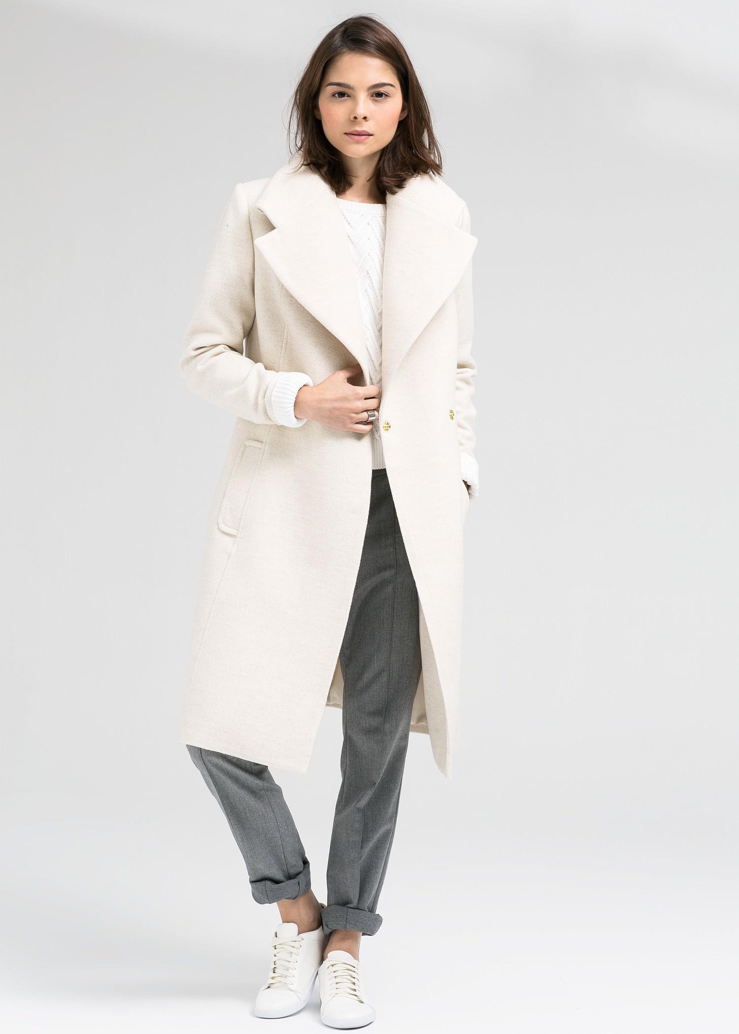 Manteau laine maxi revers
