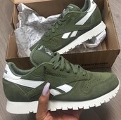 shoes,Reebok,sneakers,low top sneakers,leather,olive green,green,reebok runners,instagram,suede,white,love,reebok classic,khaki reebok,suede sneakers,khaki,canopy,green sneakers