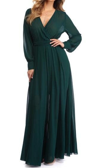 dress chiffon green emerald green long dress long sleeves chiffon dress prom dress