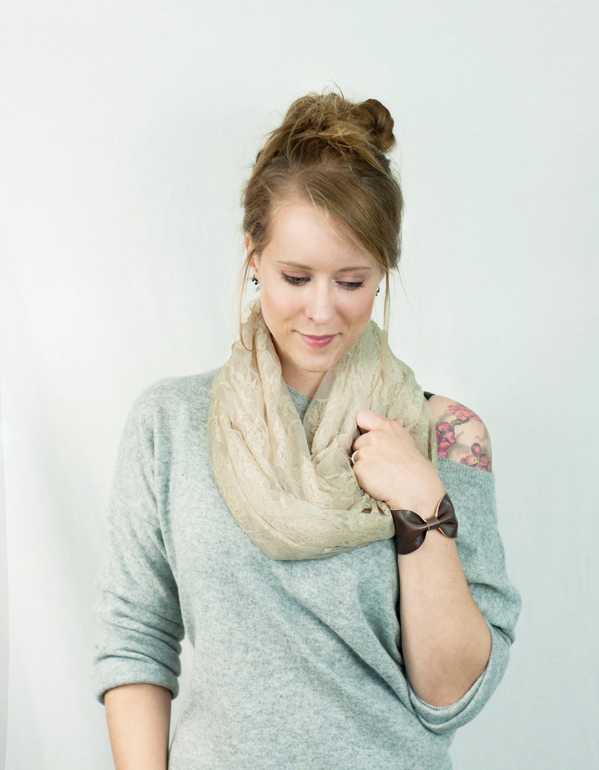 Ivory Lace Infinity Scarf Champagne Off White Floral Circle Womens Accessory Wide Women Circle Long Dark