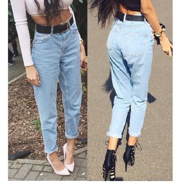 jeans light blue jeans high waisted
