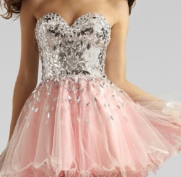 dress short party dresses homecoming dress metallic ice pink ruffle tulle skirt tulle dress sweetheart dress strapless dress