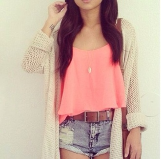 top cardigan shirt loose knit tan off-white beige sweater blouse pink pink top crop tops