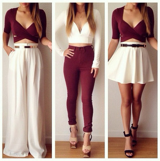 burgundy pants skater skirt white skirt wide-leg pants crop tops white crop tops feminine cute outfits sandals white high waisted pants college elegant