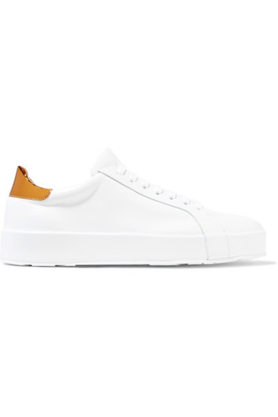 Jil Sander metallic sneakers leather white shoes