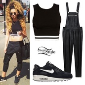 shirt,crop tops,forever 21,leather overalls,nike air,nike air max 90,shoes,bag,jumpsuit