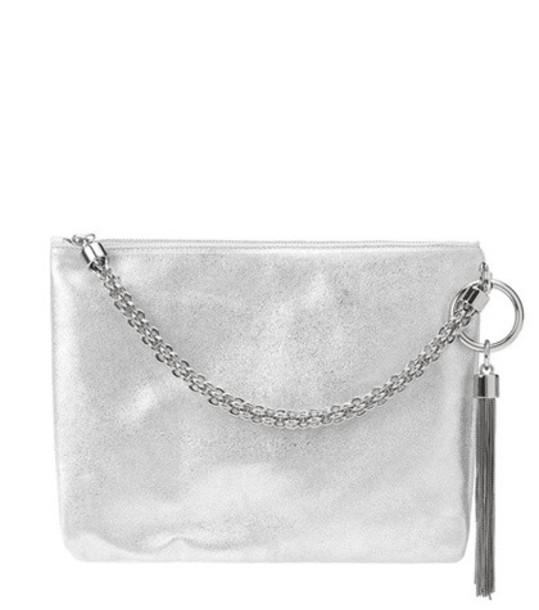 Jimmy Choo Callie metallic leather clutch in silver