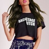 top,crop tops,t-shirt,black,backstage