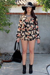 romper,floral,style,fashion,open back,floral romper,spring outfits,outfit,long sleeves,shorts