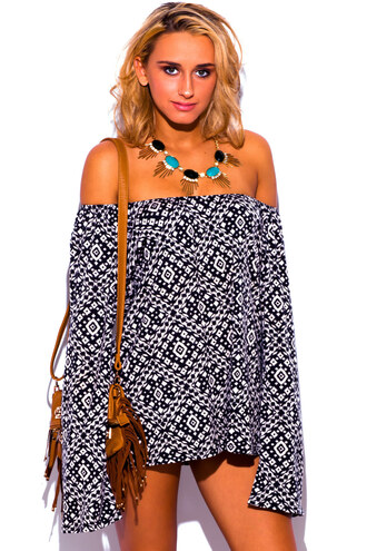 top boho off shoulder tunic off shoulder top summer oufits cute outfit bohemian print black and white