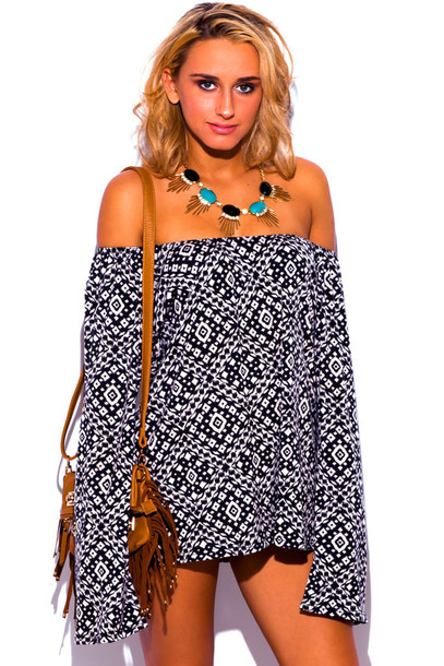 top boho off the shoulder tunic off the shoulder top summer oufits cute outfits bohemian print black and white