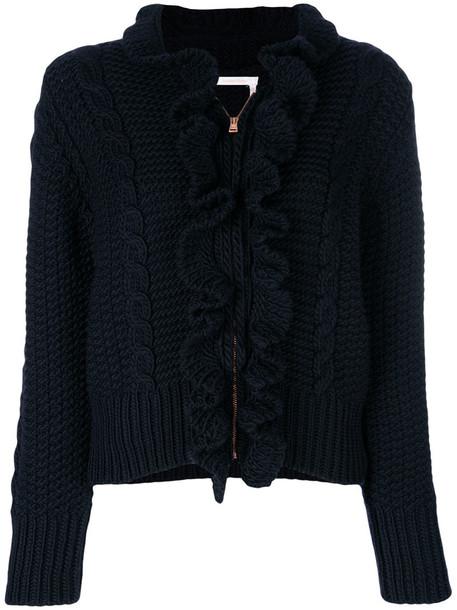 See by Chloe cardigan cardigan zip ruffle women blue wool sweater