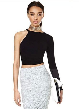 blouse one shoulder top asymmetric black knitted