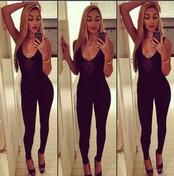pants chantel jeffries black bijoux jumpsuit