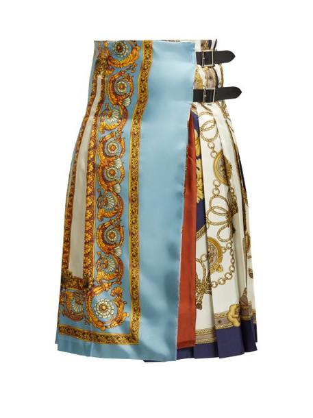 Toga - Scarf Print Twill Kilt - Womens - Blue Multi