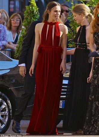 dress keira knightley velvet red backless prom red dress prom dress scarlett byrne open back long dress
