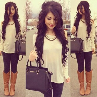 blouse cream top long sleeved off the shoulder shoes shirt