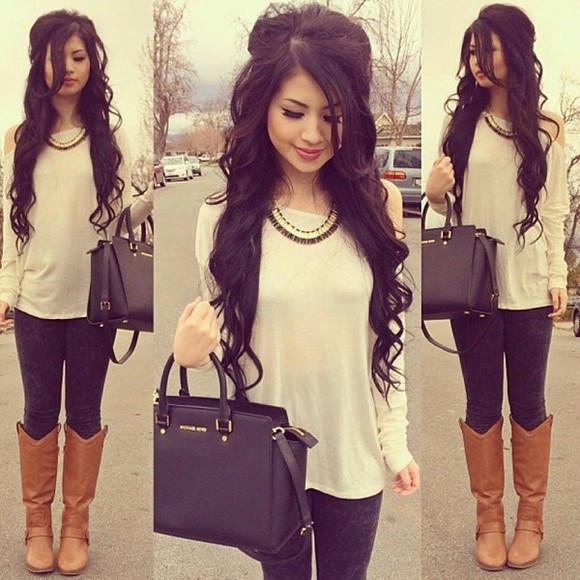 cream top blouse long sleeved off the shoulder