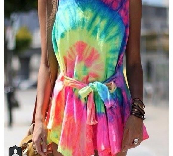 green dress blue dress pink dress rainbow dress yellow dress dress romper tiedye