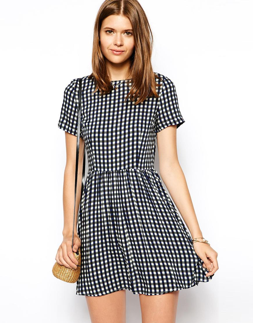 Ax paris skater dress in gingham at asos.com