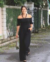 jumpsuit,black jumpsuit,off the shoulder,shoulder bag,pumps,necklace,silk scarf