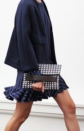 dress,office outfits,pinstrip dress,blue blazer,blazer,clutch