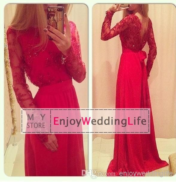 Cheap Wedding Decorations - Discount Long Sleeves Floor Length Prom Dresses Chiffon Beaded Online with $112.21/Piece | DHgate