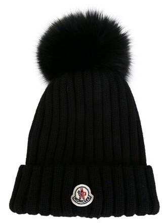 fur fox women beanie black wool hat