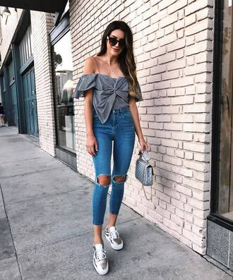 top bow top tumblr bow gingham off the shoulder off the shoulder top denim jeans blue jeans ripped jeans shoes silver shoes sunglasses