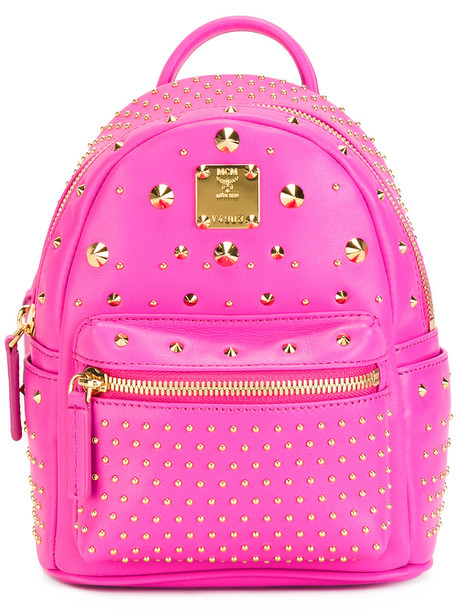 MCM mini backpack leather purple pink bag