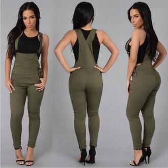 jumpsuit denim overalls olive green