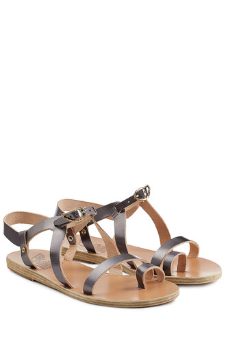 sandals leather silver shoes