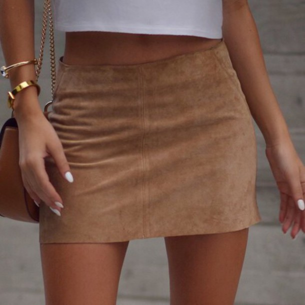Skirt: suede, tan, brown, beige, short, shirt, mini skirt, camel ...
