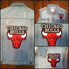 fiascoclothingbrand - Chicago Bulls Jean Vest (Light Blue, Black, Custom)