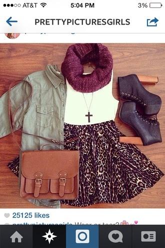 bag handbag scarf printed skirt jackets high heels jacket jeans shoes skirt