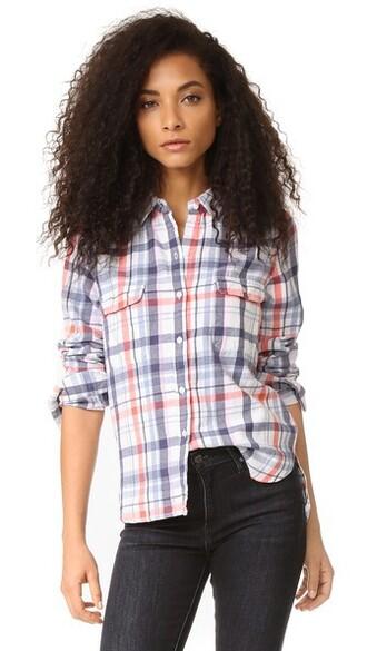 shirt plaid shirt plaid basic white top