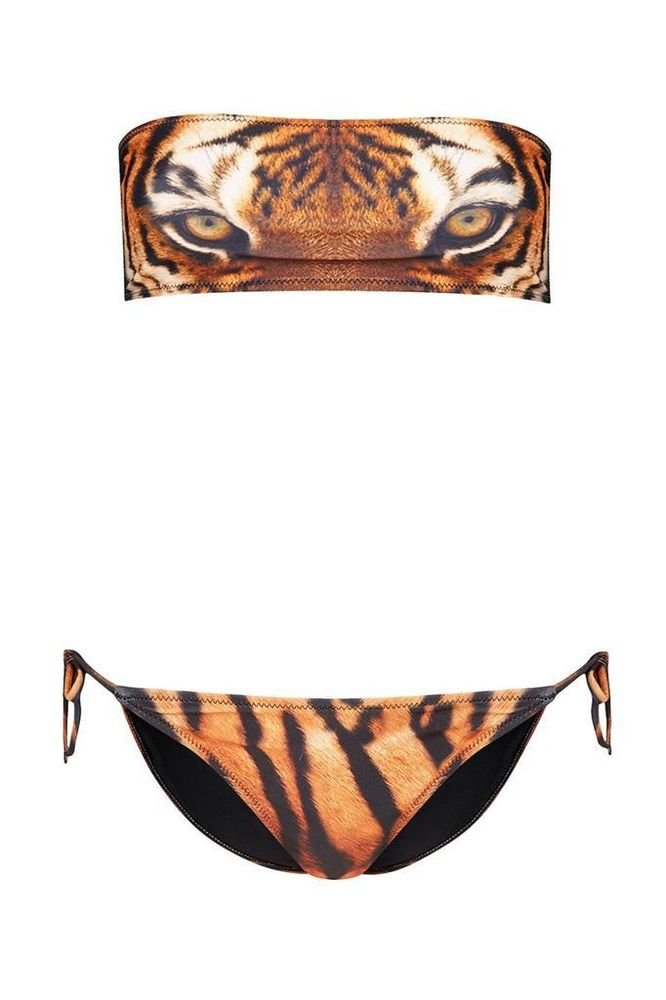 TOPSHOP TIGER EYES BANDEAU BIKINI SWIMSUIT SWIMWEAR SIZE UK6/EUR34/US2 | eBay