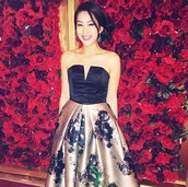 dress,roses,floral,arden cho,v neck,actress,strapless dress,black dress,floral dress