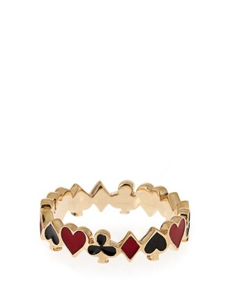 ring gold yellow black red jewels
