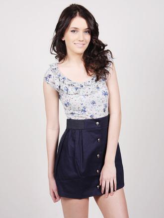 dress navy blue flowers buttons casual casual dress summer dress