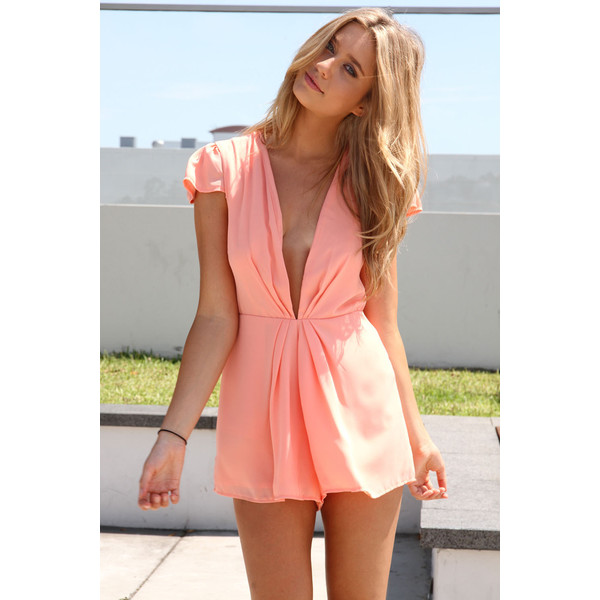 Low Lapel Playsuit Peach - Polyvore
