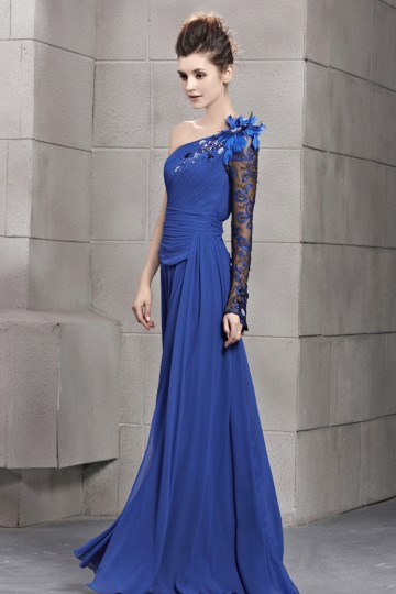 Classical A-line One Shoulder Chiffon Floor Length Evening Dress [PECE2089]- US$275.00 - PersunMall.com