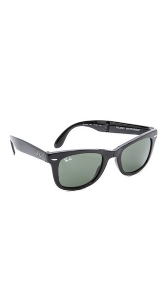 Ray-Ban Folding Wayfarer Sunglasses - Black/Green