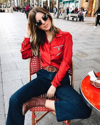 shirt leather belt tumblr satin shirt embroidered satin shirt embroidered red shirt red denim jeans blue jeans flare jeans belt sunglasses boots brown boots ankle boots