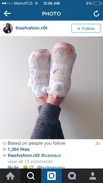 shoes instapump fury pump fury light pink nude white grey reebok instapump fury women's cute reebok