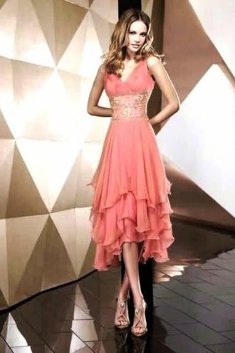 dress ruffle coral pink medium length knee length dress coral pink dress evening dress prom /evening /graduation dress