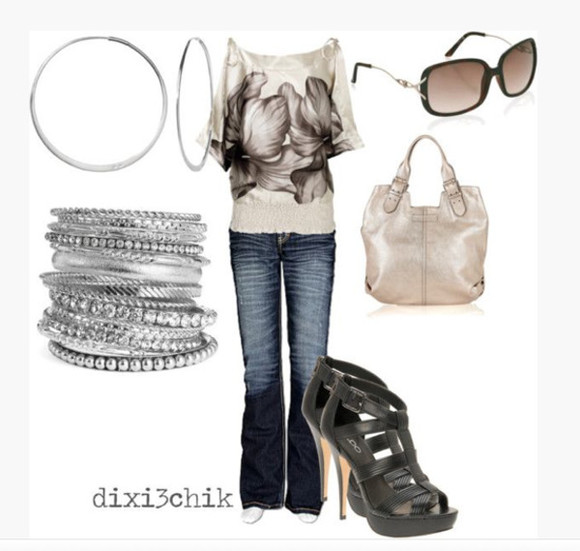 clothes jeans outfit top bag bangles shirt off the shoulder half sleeves pattern flowers floral pattern silky satin earrings bracelets high heels peep toe pumps stilettos black heels purse ivory ivory purse