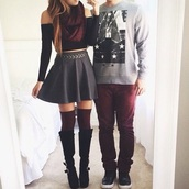 skirt,top,scarf,socks,shoes,mens sweater