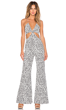 Line & Dot Disco Jumpsuit in Cookie Cream from Revolve.com