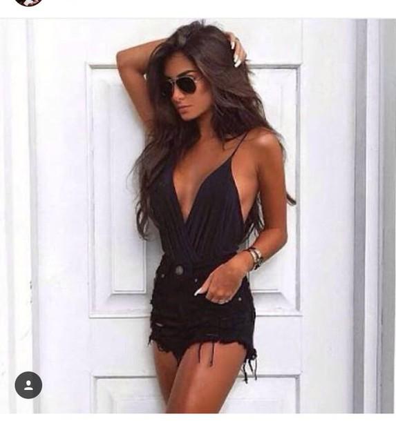 fb71d66dda6a blouse bodysuit black black ripped shorts backless top short ripped shorts